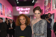 Designer Diane von Furstenberg (L) and model Coca Rocha, wearing Diane Von Furstenberg, attend Diane Von Furstenberg's Journey of A Dress Exhibition Opening Celebration at May Company Building at LACMA West on January 10, 2014 in Los Angeles, California.