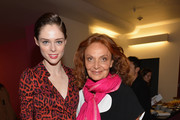 """Model Coca Rocha (L) and designer Diane von Furstenberg during a press conference for """"Journey Of A Dress"""" at LACMA West on January 10, 2014 in Los Angeles, California."""