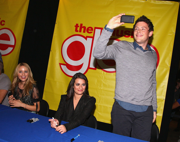 "Actors Diana Agron, Lea Michele and Cory Monteith attend the cast of ""Glee"""