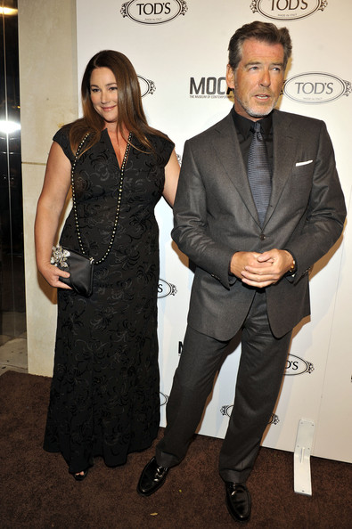 Keely and Pierce Brosnan poses for a picture at Diego Della Valle's Celebration of Tod's Boutique and MOCA's Jeffrey Deitch on April 15, 2010 in Beverly Hills, California.