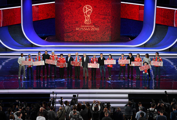 Final Draw for the 2018 FIFA World Cup Russia - Previews [stage,performance,event,display device,heater,musical theatre,crowd,audience,performance art,performing arts,cafu,diego forlan,fabio cannavaro,carles puyol,nikita simonyan,laurent blanc,draw,l-r,russia,2018 fifa world cup]