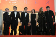 """(L-R) General Delegate Thierry Fremaux, Benjamin Biolay, Vincent Lacoste, Camille Cottin, Chiara Mastroianni and Christophe Honore attend the screening of """"Diego Maradona"""" during the 72nd annual Cannes Film Festival on May 19, 2019 in Cannes, France."""