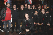 (L-R) Andrea Rosso, Gennaro Gattuso, Renzo Rosso, Stefan Simic, Patrick Cutrone, Samu Castillejo, Alessio Romagnoli, Jose Manuel Reina, Andrea Conti, Jose Mauri and Diego Laxalt attend Diesel Presents The AC Milan Special Collection on November 6, 2018 in Milan, Italy.