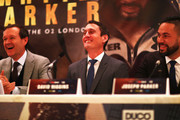 Adam Smith, David Higgins and Joseph Parker speak to the media during the Dillian Whyte and Joseph Parker Press Conference at The Dorchester Hotel on June 7, 2018 in London, England.