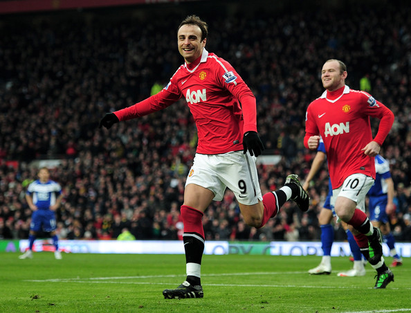 Dimitar Berbatov Dimitar Berbatov of Manchester United celebrates scoring the opening goal during the Barclays Premier League match between Manchester United and Birmingham City at Old Trafford on January 22, 2011 in Manchester, England.