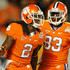Dwayne Allen Sammy Watkins Photos - (L-R) Sammy Watkins #2 and Dwayne Allen #83 of the Clemson Tigers celebrate after Watkins scored a 27-yard touchdown reception in the first quarter against the West Virginia Mountaineers during the Discover Orange Bowl at Sun Life Stadium on January 4, 2012 in Miami Gardens, Florida. - Discover Orange Bowl - West Virginia v Clemson