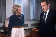 """20/20 - 5/3/85.Barbara Walters chatted with Richard M. Nixon, 5/3/85 on ABC's """"20/20"""" airing on the ABC Television Network..(Photo by Donna Svennevik/ABC via Getty Images).BARBARA WALTERS, RICHARD M. NIXON"""