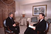 UNITED STATES - 1992, Bill Clinton (L) talks with  'Good Morning America',  television host Charles Gibson (R) 1992.