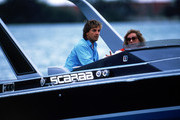(L-R) Don Johnson, Barbara Walters on boat on 'Barbara Walters Special'.