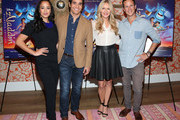 """(L-R) Actors Courtney Reed, Adam Jacobs, Linda Larkin and Scott Weinger attend Disney's """"Aladdin"""" Broadway Press Day at the Crosby Street Hotel on October 12, 2015 in New York City."""