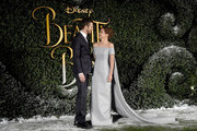 """Dan Stevens and Emma Watson attend UK launch event for Disney's """"Beauty And The Beast"""" at Spencer House on February 23, 2017 in London, England."""
