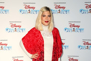 Tori Spelling attends Disney On Ice Presents Mickey's Search Party Holiday Celebrity Skating Event at Staples Center on December 13, 2019 in Los Angeles, California.