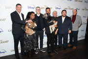 "(L-R) Kevin A. Mayer, Rose, Yvette Nicole Brown, Charlie Bean, Monte, Justin Theroux, Brigham Taylor, Adrian Martinez and F. Murray Abraham attend Disney+'s ""Lady and the Tramp"" New York Screening at iPic Theater on October 22, 2019 in New York City."