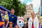 """Dan Osborne, Jacqueline Jossa and family attend the European premiere of Disney and Pixar's """"Toy Story 4"""" at the Odeon Luxe Leicester Square on June 16, 2019 in London, England."""