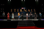 (L-R) Richard Madden, Kumail Nanjiani, Lauren Ridloff, Salma Hayek, Lia McHugh, Don Lee, Angelina Jolie, and Barry Keoghan of 'The Eternals' took part today in the Walt Disney Studios presentation at Disney's D23 EXPO 2019 in Anaheim, Calif.  'The Eternals' will be released in U.S. theaters on November 6, 2020.