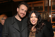 """Jason Segal and Sarah Barnett, President AMC Networks Entertainment Group, AMC Studios attend the """"Dispatches from Elsewhere"""" - Tastemaker event on December 12, 2019 in Los Angeles, California."""