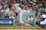 Matt Holliday #7 of the St. Louis Cardinals reacts after striking out in the sixth inning against the Los Angeles Dodgers in Game Two of the National League Division Series at Dodger Stadium on October 4, 2014 in Los Angeles, California.
