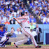 Daniel Murphy Photos - Daniel Murphy #20 of the Washington Nationals hits a two RBI single in the seventh inning against the Los Angeles Dodgers during game four of the National League Division Series at Dodger Stadium on October 11, 2016 in Los Angeles, California. - Division Series - Washington Nationals v Los Angeles Dodgers - Game Four