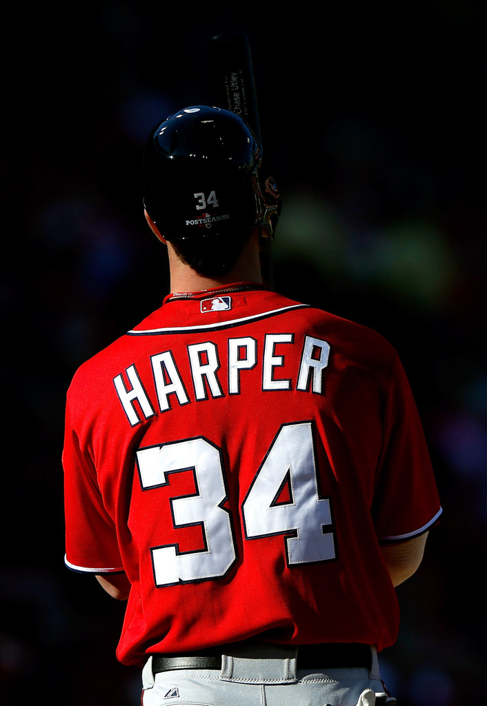 Galerry  bryce harper bryce harper 34 of the washington nationals looks on