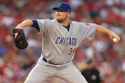 Jon Lester #34 of the Chicago Cubs delivers a pitch against the Washington Nationals in the second inning during game two of the National League Division Series at Nationals Park on October 7, 2017 in Washington, DC.