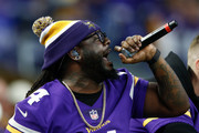 American rapper T-Pain performs prior to the game between the Minnesota Vikings and the New Orleans Saints in the NFC Divisional Playoff game at U.S. Bank Stadium on January 14, 2018 in Minneapolis, Minnesota.