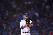 Jon Lester #34 of the Chicago Cubs pitches in the eighth inning during game four of the National League Division Series against the Washington Nationals at Wrigley Field on October 11, 2017 in Chicago, Illinois.