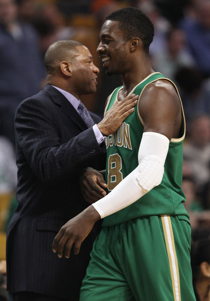 Doc Rivers and Jeff Green - Indiana Pacers v Boston Celtics