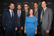 """(L-R) Rhys Thomas, Alex Buono, Fred Armisen, Jennifer Caserta, Seth Meyers and Bill Hader attend the New York screening for """"Documentary Now!"""" at New World Stages on August 18, 2015 in New York City."""