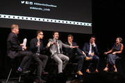 """(L-R) Steve Clemons, Fred Armisen, Bill Hader, Seth Meyers, Rhys Thomas and Alex Wagner attend a panel for the New York Screening for """"Documentary Now!"""" at New World Stages on August 18, 2015 in New York City."""