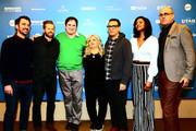 """(L-R) Rhys Thomas, Alexander Buono, Richard Kind, Paula Pell, Fred Armisen, and Renee Elise Goldsberry attend the """"Documentary Now"""" Red Carpet, Screening And After Party during the 2019 Sundance Film Festival at The Egyptian Theatre on January 27, 2019 in Park City, Utah."""