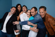 (L-R) Director Richard Shepard, actress Madalina Ghenea, actor Demian Bichir, actress Emilia Clarke, actor Jude Law and actor Richard E. Grant of 'Don Hemingway' pose at the Guess Portrait Studio during 2013 Toronto International Film Festival on September 9, 2013 in Toronto, Canada.