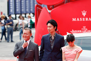 Jun Kunimura, Hiroki Hasegawa and Fumi Nikaido attends Why Don't You Play In Hell? Premiere during the 70th Venice International Film Festival on August 29, 2013 in Venice, Italy.