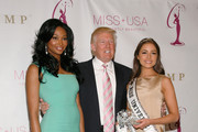(L to R) Miss USA Nana Meriwether, Donald Trump and Miss Universe Olivia Culpo attend the crowning ceremony of the new Miss USA at Trump Tower on January 9, 2013 in New York City.