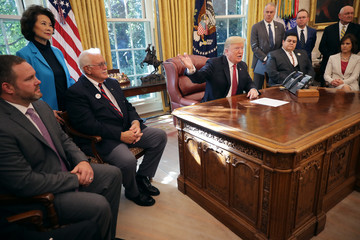 Donald Trump Mick Mulvaney President Trump Meets With Workers In White House On Economic Plan