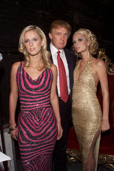 Donald Trump Donald Trump with Paris and Nicky Hilton during rehearsals for the 2001 VH1 Vogue Fashion Awards at Hammerstein Ballroom in New York City, 10/18/01. Photo by Frank Micelotta/ImageDirect.