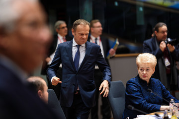 Donald Tusk British Prime Minister Attends The European Council