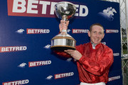 Paul Hanagan is crowned champion jockey at Doncaster racecourse on November 05, 2011 in Doncaster, England.