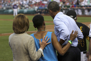 Donna Edwards President Obama Watches The Congressional Baseball Game