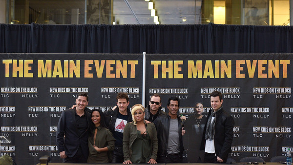New Kids on the Block Press Conference [new kids on the block press conference,event,font,team,advertising,jonathan knight,jordan knight,t-boz,danny wood,donnie wahlberg,joey mcintyre,l-r,madison square garden,chilli]