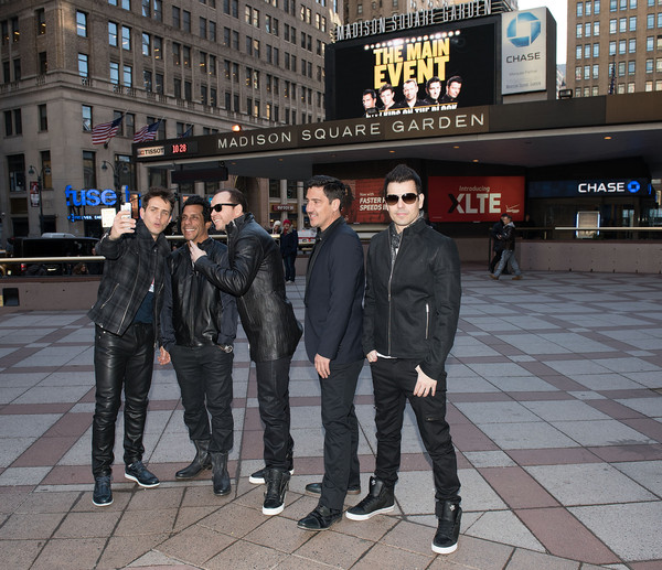 New Kids on the Block Press Conference [new kids on the block press conference,new kids on the block,snapshot,fashion,urban area,human,city,street,jacket,outerwear,architecture,leather jacket,joey mcintyre,jordan knight,jonathan knight,danny wood,donnie wahlberg,selfie,madison square garden,press conference]