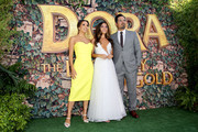 "(L-R) Eva Longoria, Isabela Moner, and Michael Peña attend the ""Dora and the Lost City of Gold"" World Premiere at the  Regal LA Live on July 28, 2019 in Los Angeles, California."