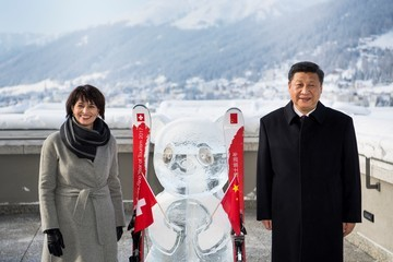 Doris Leuthard China's Xi Says No One Will Win Trade War at Davos World Economic Forum