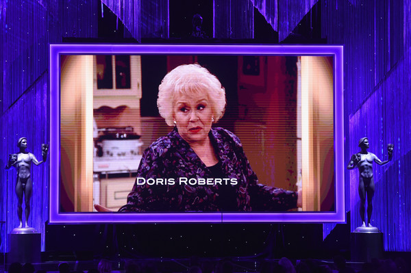 The 23rd Annual Screen Actors Guild Awards - Show [performance,stage,purple,display device,technology,performing arts,electric blue,media,television program,heater,doris roberts,video tribute,california,los angeles,the shrine auditorium,screen actors guild awards,show]