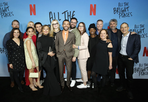 "Netflix Premiere of ""All the Bright Places"" [original independent film,social group,event,premiere,team,tourism,performance,white-collar worker,manager,sean berney,jennifer niven,elle fanning,justice smith,l-r,bright places,netflix,premiere,public relations,social group,carpet,socialite,television,public,event,social]"