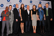 Angelique Kidjo, Pete Wentz, Paul Faeth, Jenny Fletcher, Kevin Wall, Jessica Biel, Alexandra Cousteau and Ian Barbour attend the Dow Live Earth Run For Water press conference at Lighthouse at Chelsea Piers on October 13, 2009 in New York City.