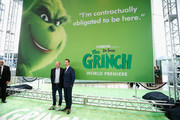 "Producer Chris Meledandri and Benedict Cumberbatch attends ""Dr. Seuss' The Grinch"" New York premiere at Alice Tully Hall, Lincoln Center on November 3, 2018 in New York City."