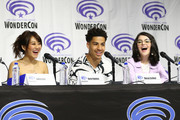 """(L-R) Karen Fukuhara, Marcus Scribner, and Merit Leighton speak onstage during DreamWorks """"She-Ra and the Princesses of Power"""" ˆat WonderCon at Anaheim Convention Center on March 30, 2019 in Anaheim, California."""