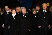 (From Left to Right) Prince Edward, Duke of Kent, Helma Orosz, Major of Dresden, German President Joachim Gauck, Daniela Schadt and Stanislav Tillich, Governeuer of Saxony, hold hands together in a human chain across the city center in commemoration of the 70th anniversary of the Allied firebombing of Dresden on February 13, 2015 in Dresden, Germany. On February 13-14, 1945, U.S. and British bombers attacked in successive raids that devastated the city and killed at least 25,000 people. The formation of a human chain has become an annual occurrence that not only commemorates the bombing but also makes a statement against local neo-Nazis, who in years passed have sought to use the anniversary to their own ends.