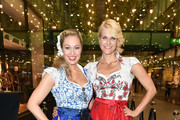 Ruth Moschner and Natascha Gruen during the dresscoded goes Wasen event at Armani Caffe on August 31, 2016 in Munich, Germany. Dresscoded will lend out Dirndl for the Stuttgarter Wasen that will take place from September 29 till October 9, 2016.
