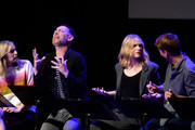 (L-R) Maria Blasucci, Colin Hanks, Evan Rachel Wood, and Jack McBrayer speak onstage during the 'Drunk History' Live Reading Event at The Montalban on August 15, 2019 in Hollywood, California.
